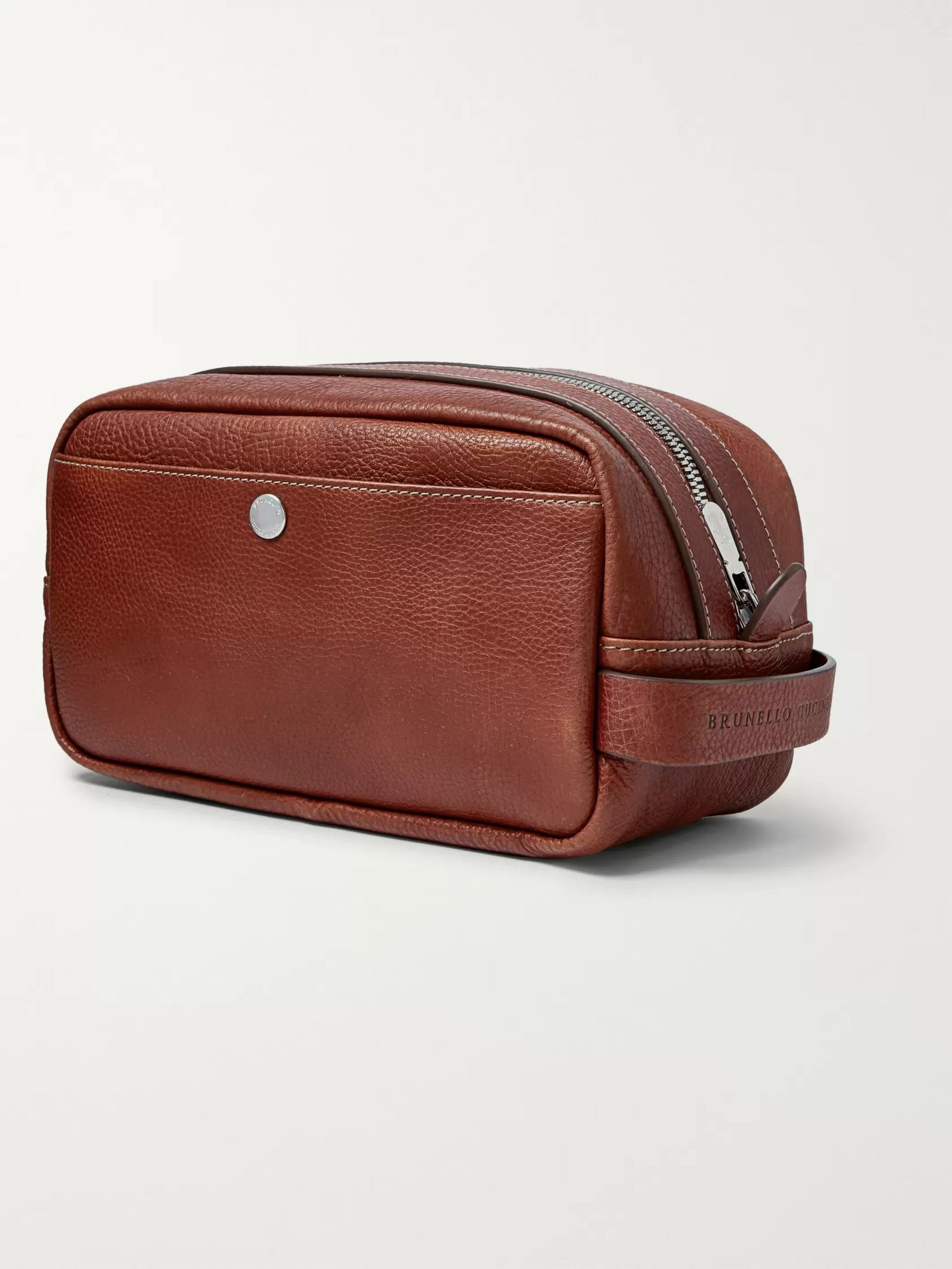 Brunello Cucinelli Full-Grain Leather Wash Bag