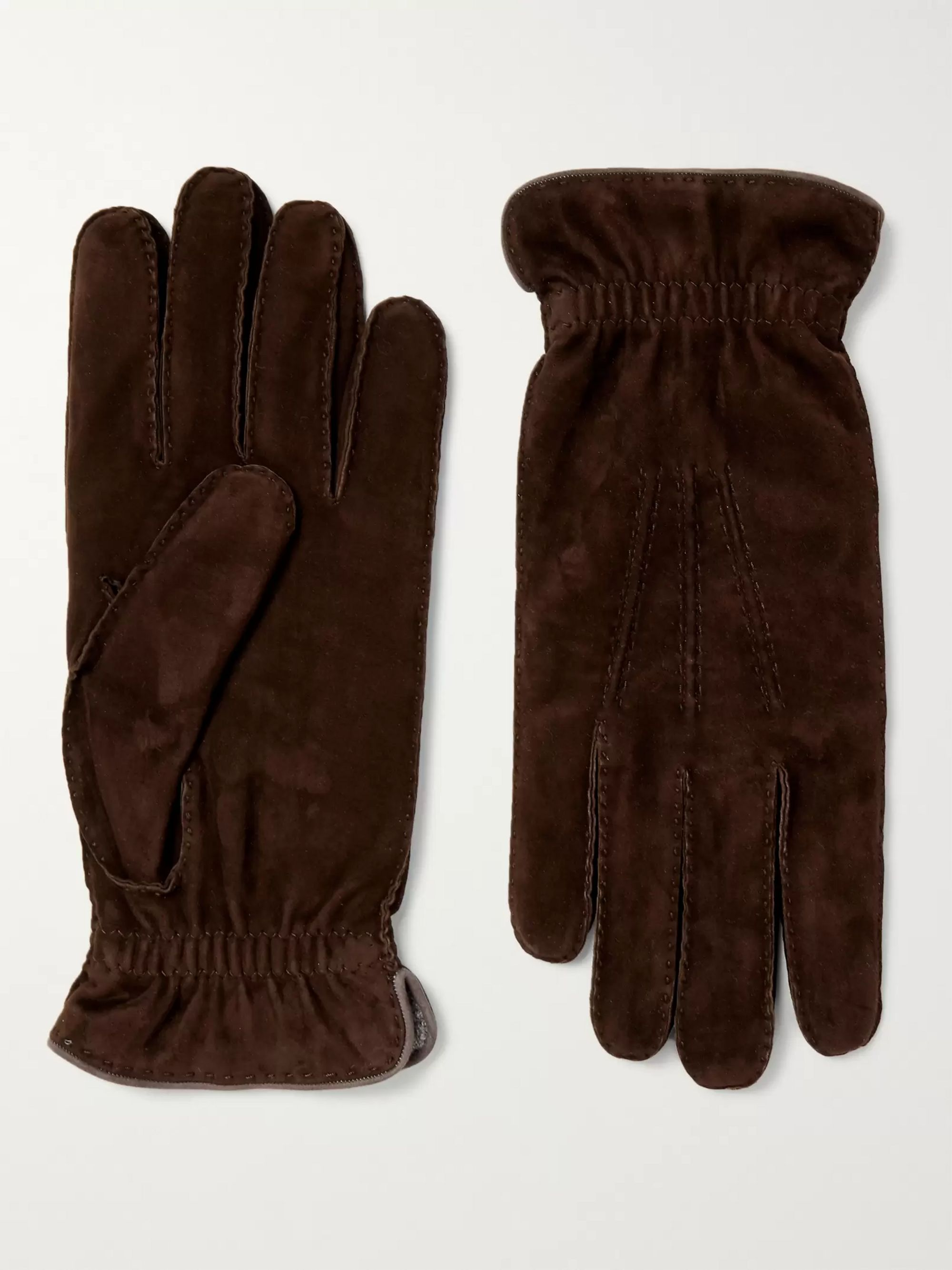 Brunello Cucinelli Wool-Lined Suede Gloves
