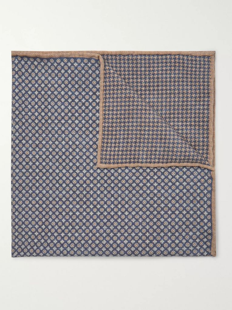 Brunello Cucinelli Printed Silk Pocket Square