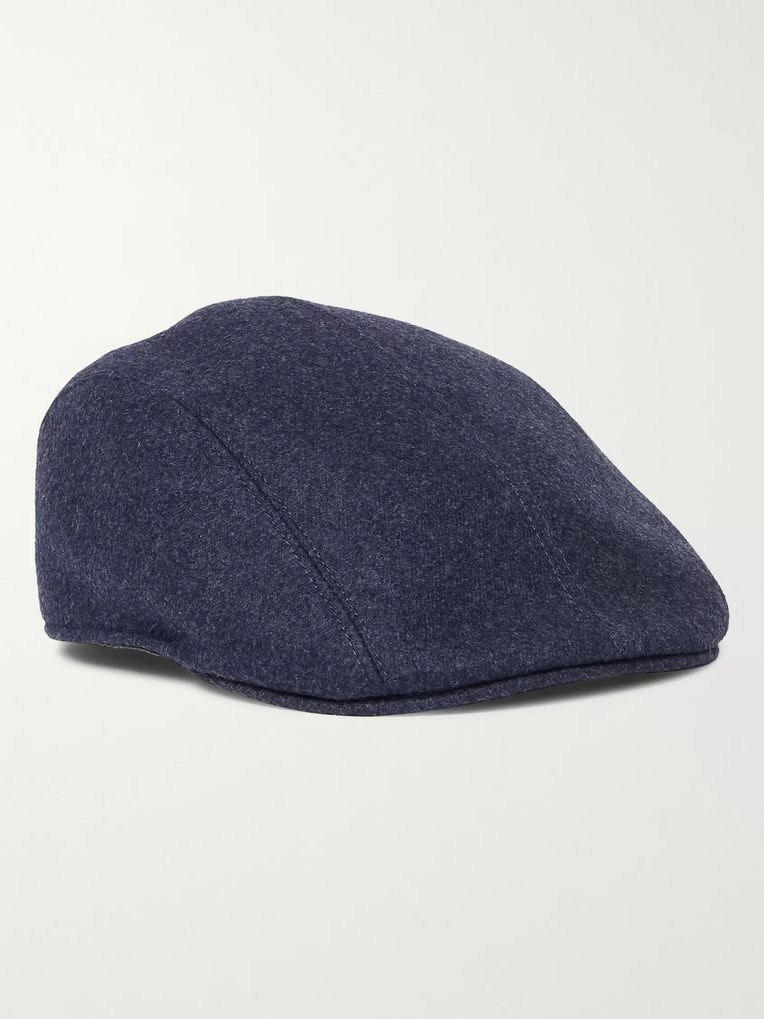 Brunello Cucinelli Leather-Trimmed Wool-Felt Flat Cap