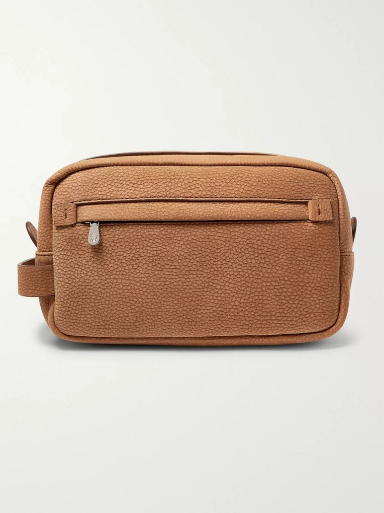 Brunello Cucinelli Full-Grain Nubuck Wash Bag