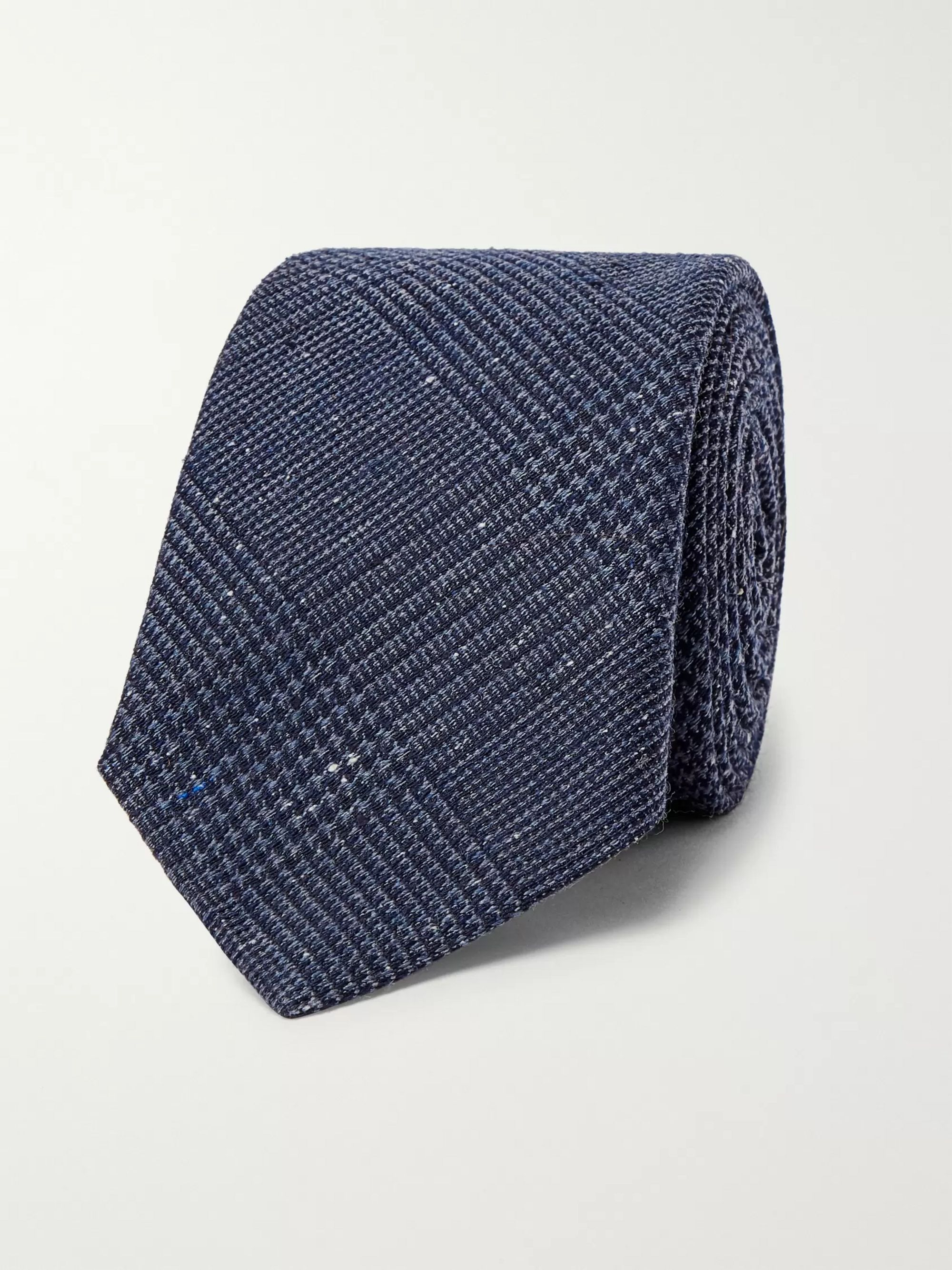 Brunello Cucinelli Prince of Wales Checked Silk and Wool-Blend Tie