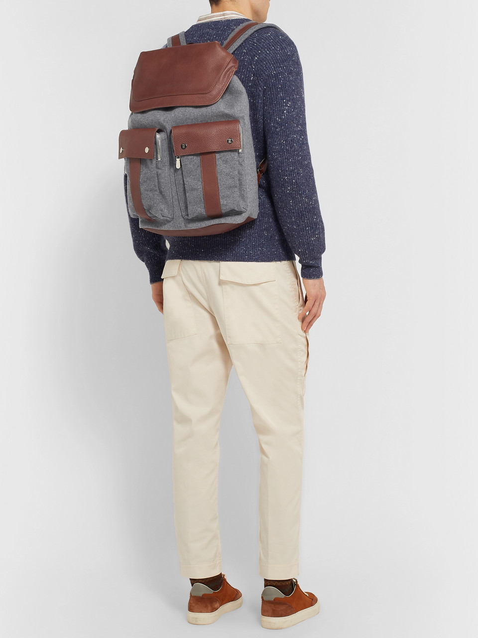 Brunello Cucinelli Full-Grain Leather and Mélange Wool Backpack