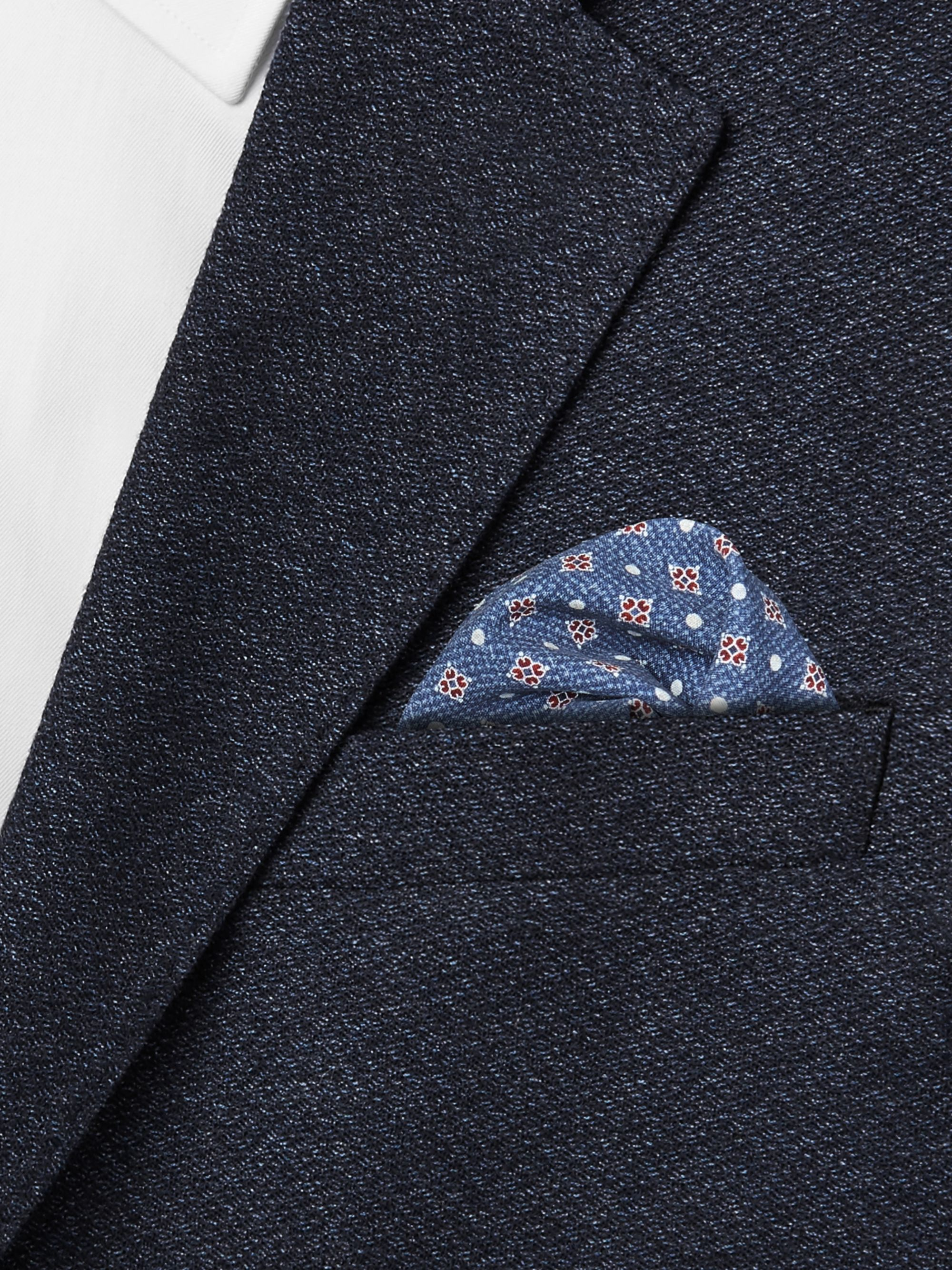 Brunello Cucinelli Reversible Printed Silk Pocket Square