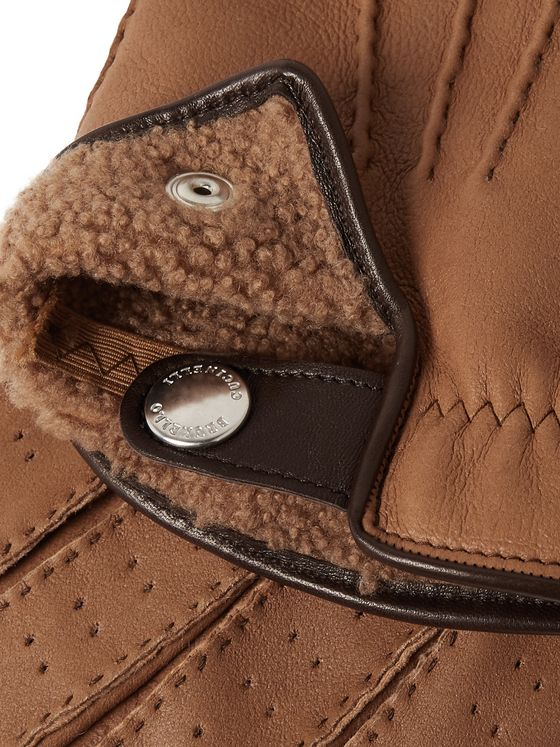 Brunello Cucinelli Shearling-Lined Leather Gloves
