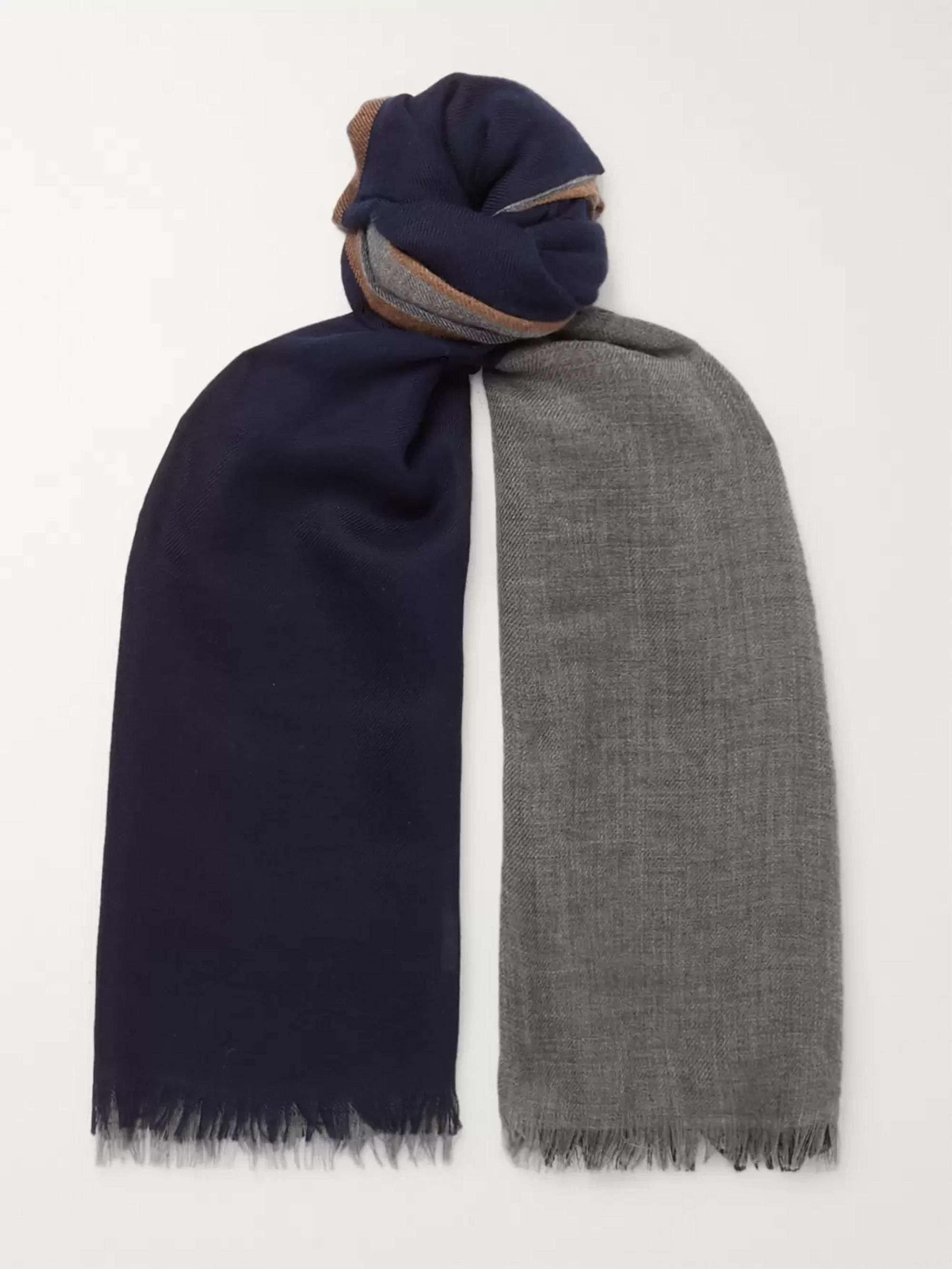 Brunello Cucinelli Colour-Block Cashmere and Silk-Blend Scarf