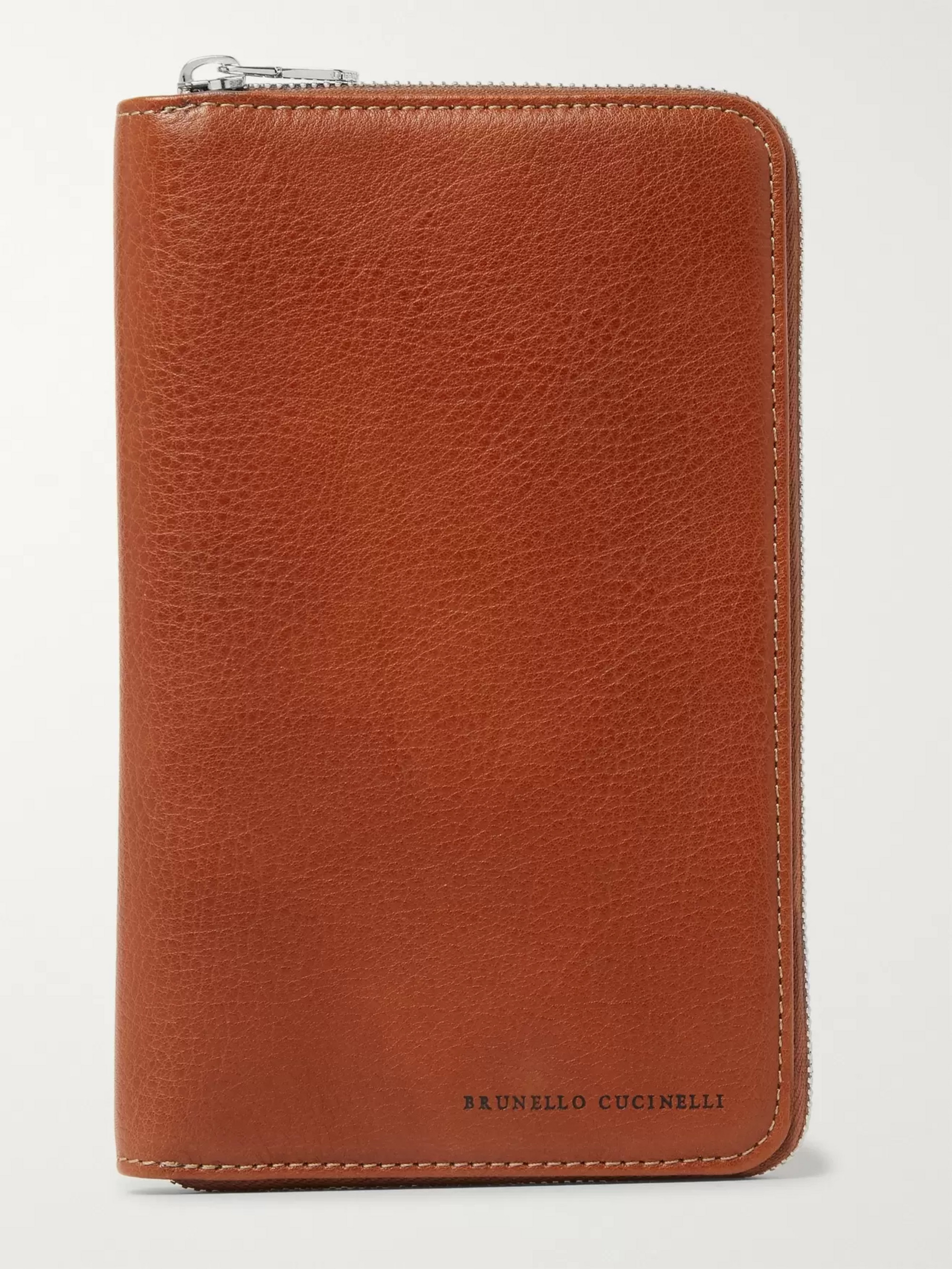 Brunello Cucinelli Full-Grain Leather Zip-Around Travel Wallet