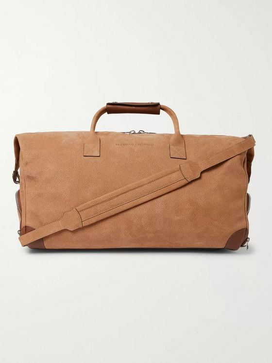 Brunello Cucinelli Leather-Trimmed Nubuck Holdall