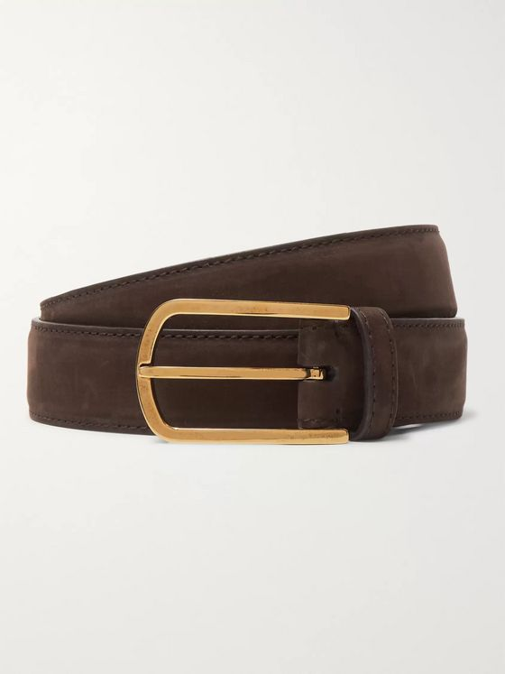 Brunello Cucinelli 3.5cm Dark-Brown Suede Belt