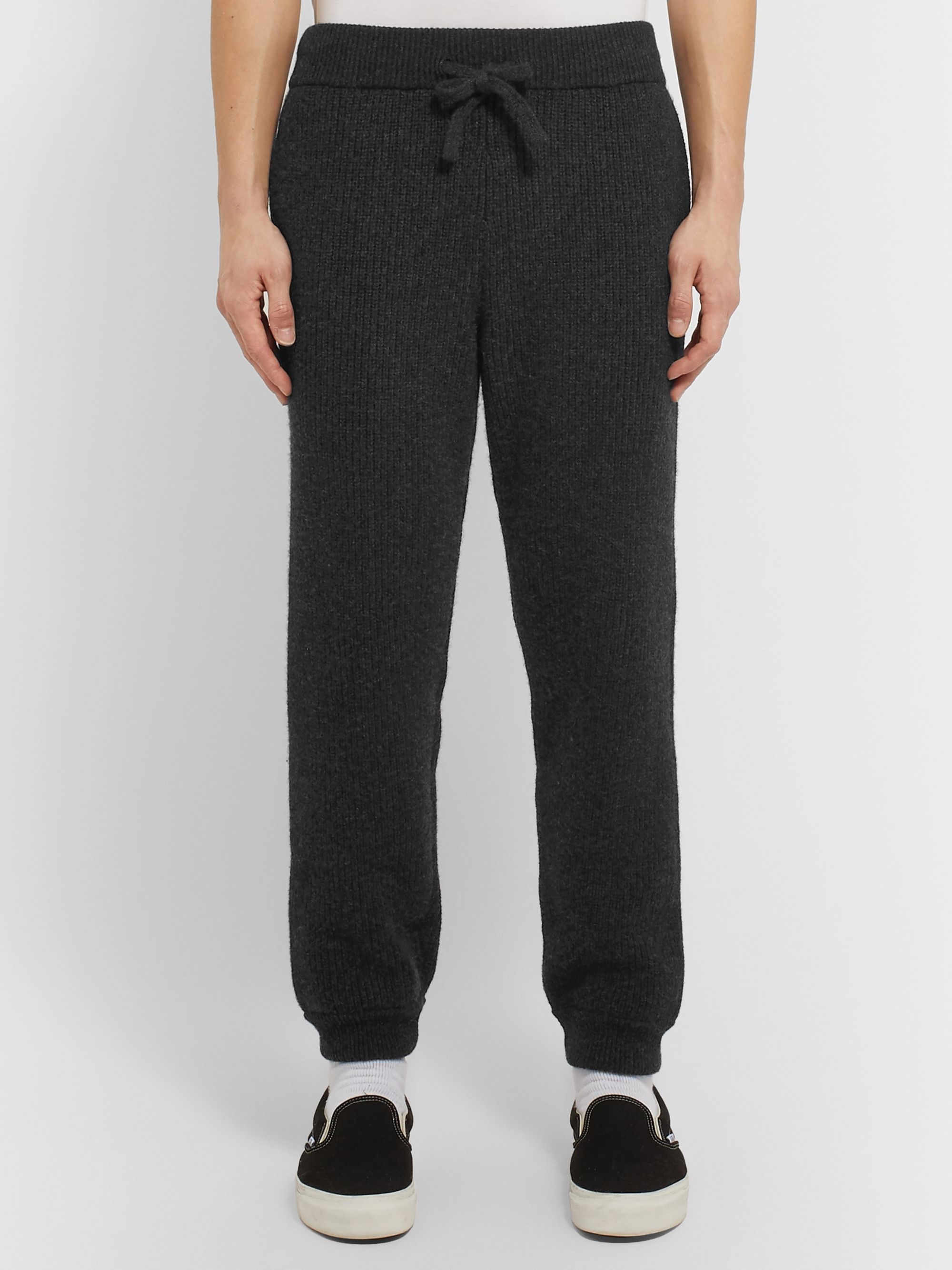 Alanui Slim-Fit Tapered Ribbed Cashmere Sweatpants