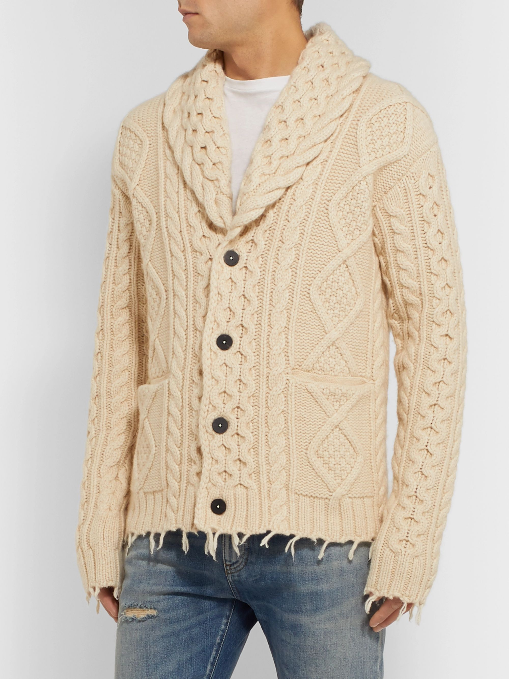 Alanui Fringed Shawl-Collar Cable-Knit Wool and Cashmere-Blend Cardigan