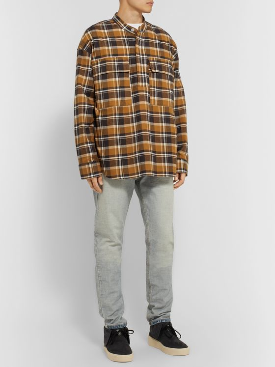 Fear of God Grandad-Collar Checked Cotton-Flannel Half-Placket Shirt