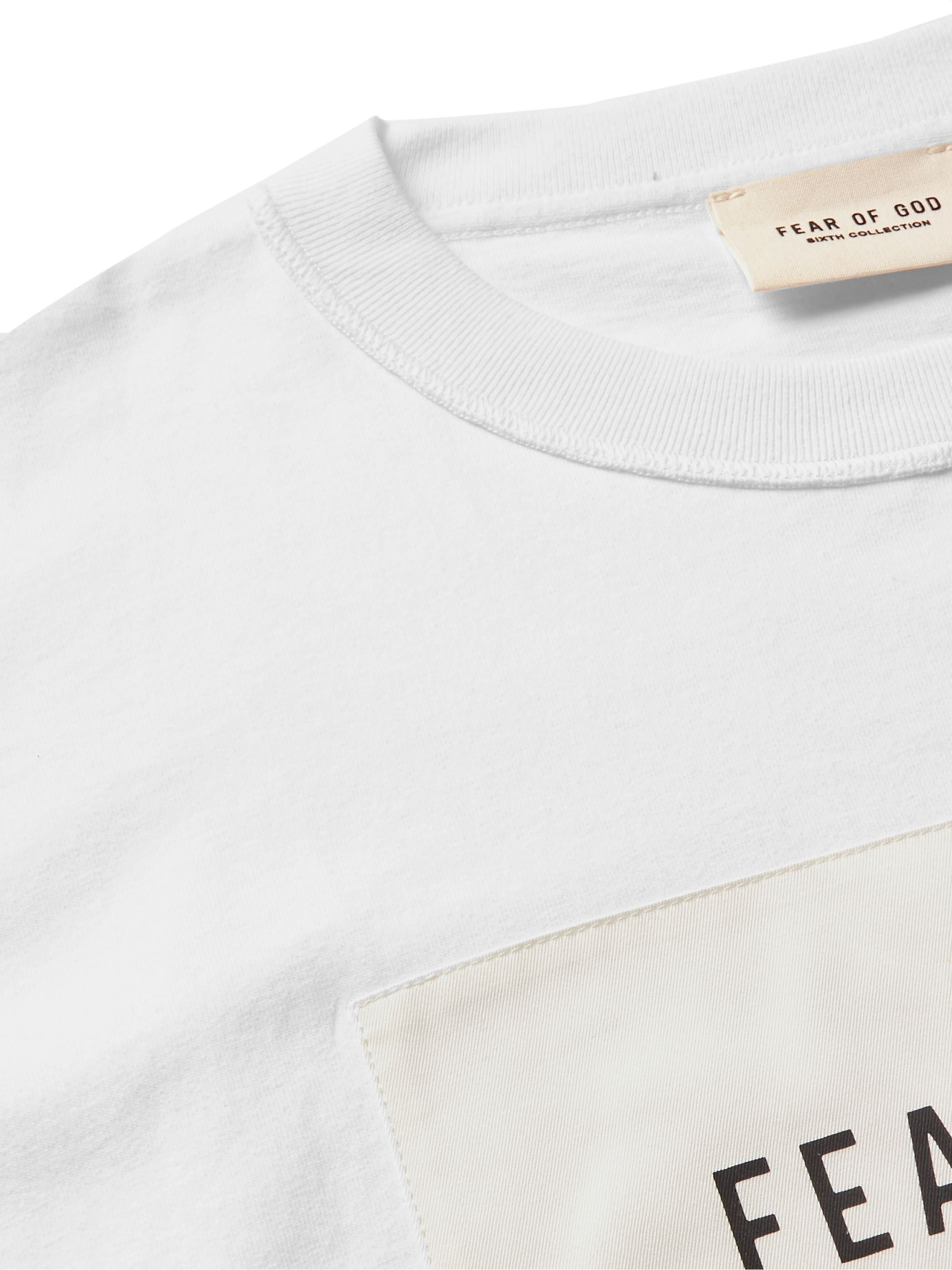 Fear of God Oversized Logo-Appliquéd Mélange Cotton-Blend Jersey T-Shirt