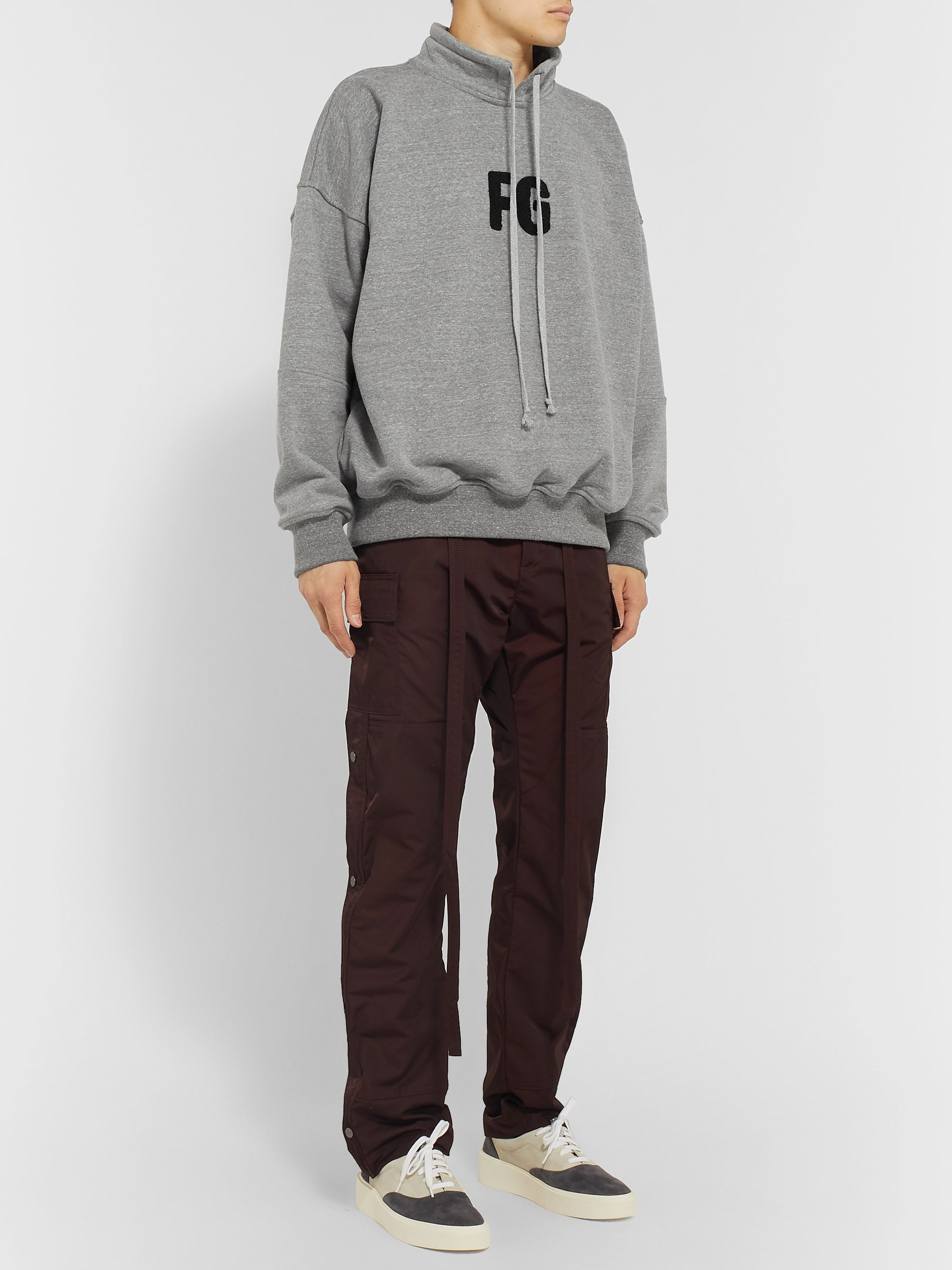 Fear of God Logo-Appliquéd Mélange Loopback Cotton-Blend Jersey Sweatshirt