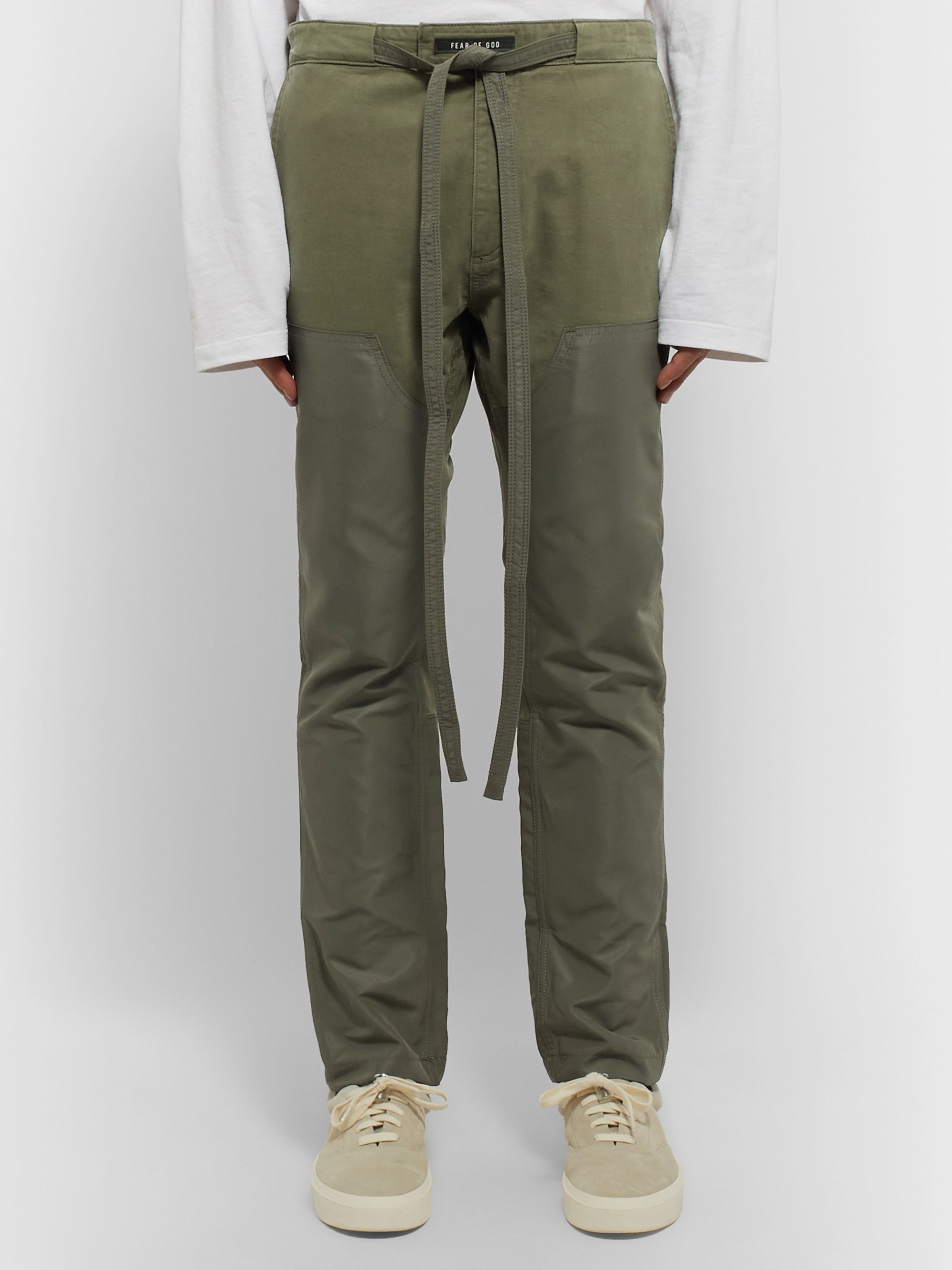 Fear of God Slim-Fit Belted Panelled Cotton-Twill and Nylon Trousers