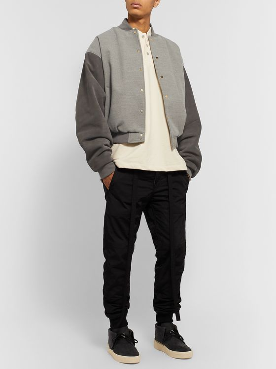 Fear of God Appliquéd Mélange Felt and Suede Bomber Jacket