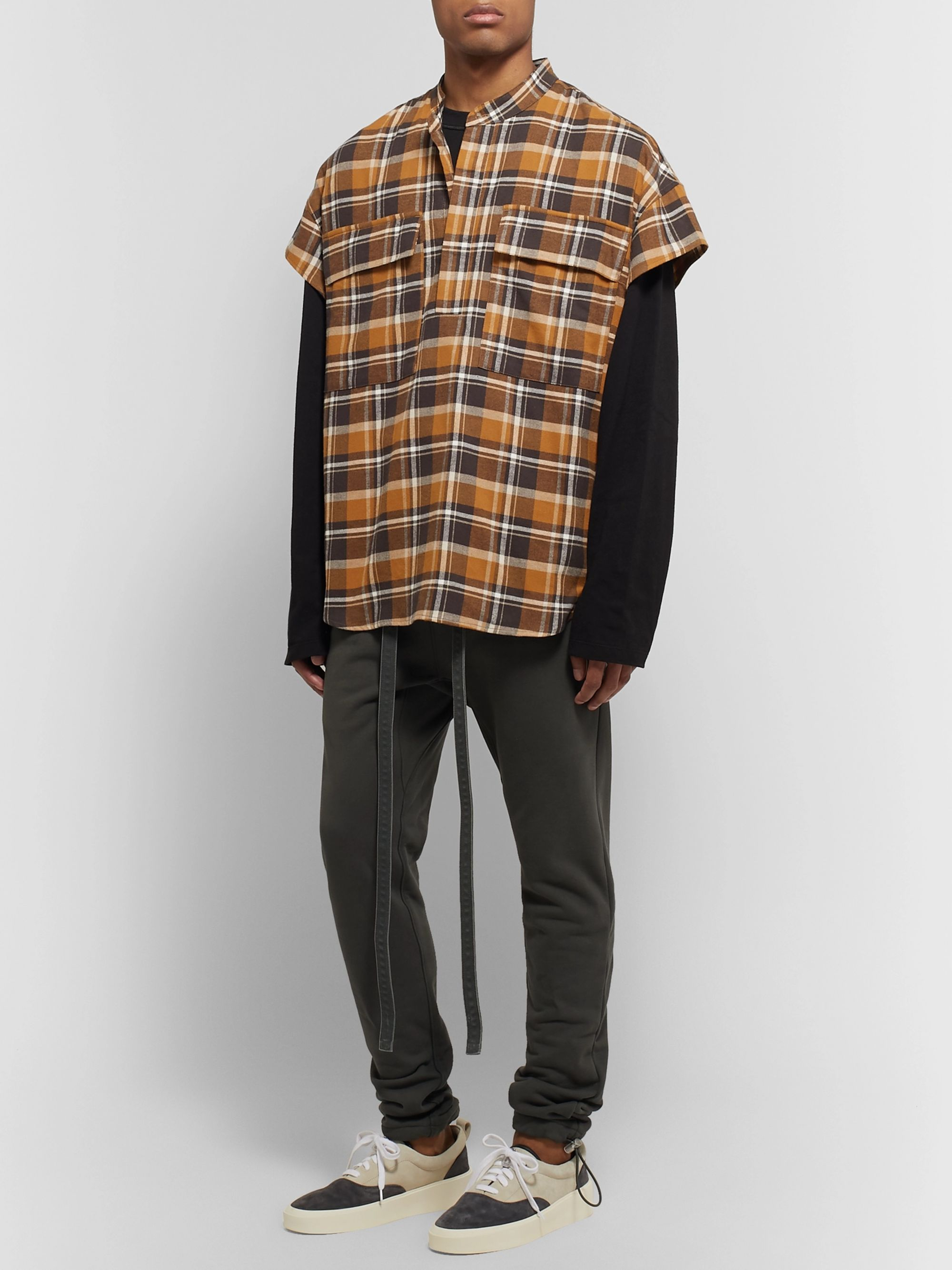 Fear of God Oversized Checked Cotton-Flannel Half-Placket Shirt