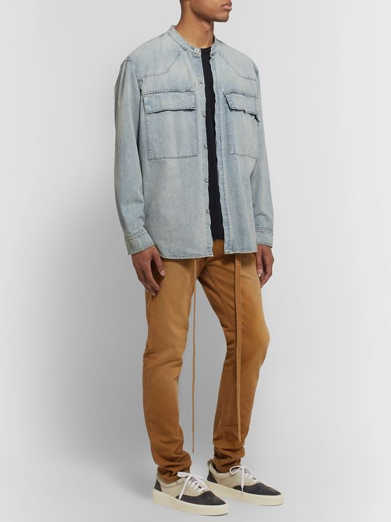Fear of God Grandad-Collar Washed-Denim Shirt