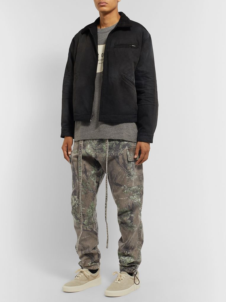 Fear of God Jiujitsu Tapered Belted Printed Cotton-Twill Trousers