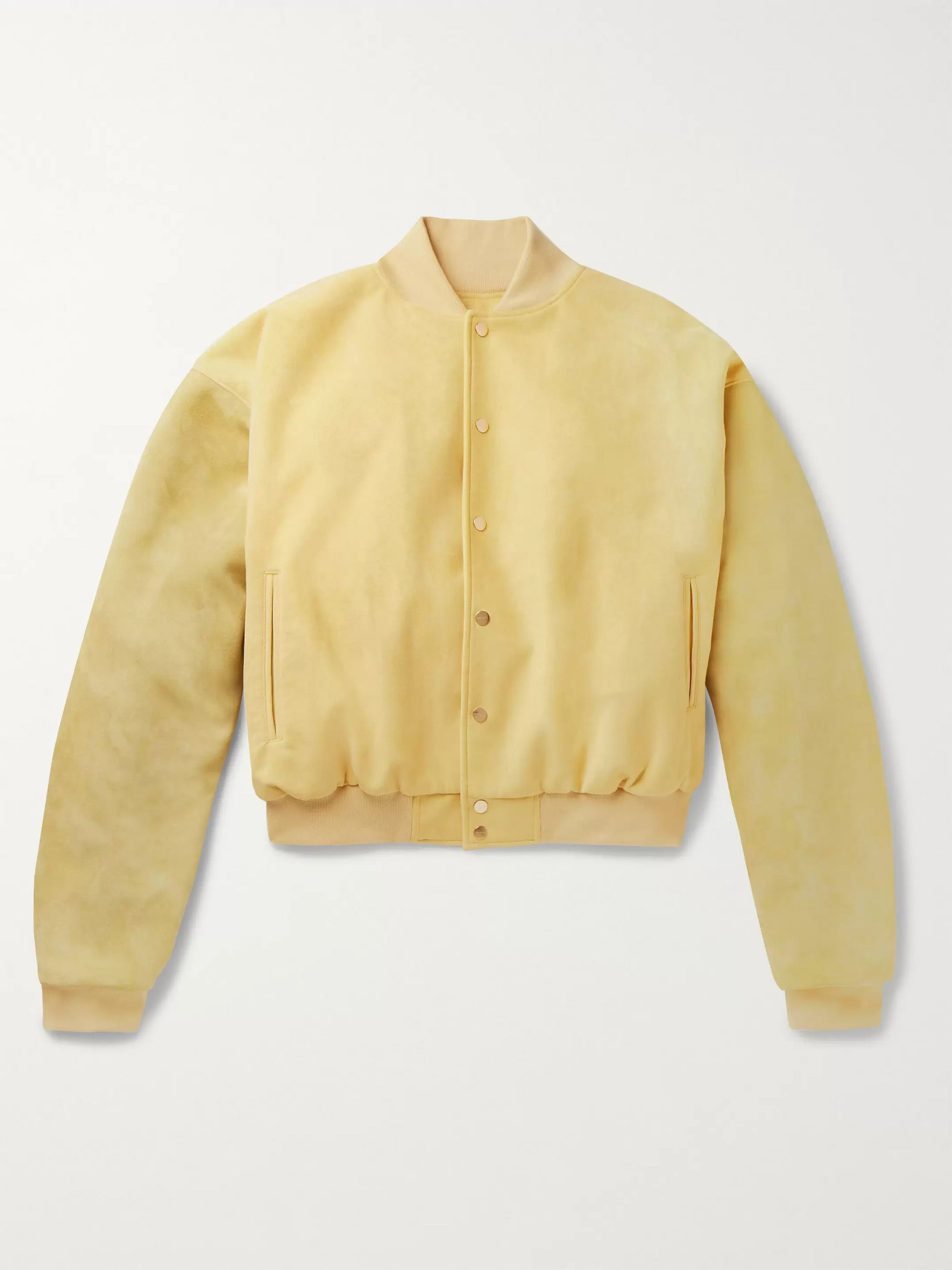 Fear of God Appliquéd Suede-Panelled Faux Suede Bomber Jacket
