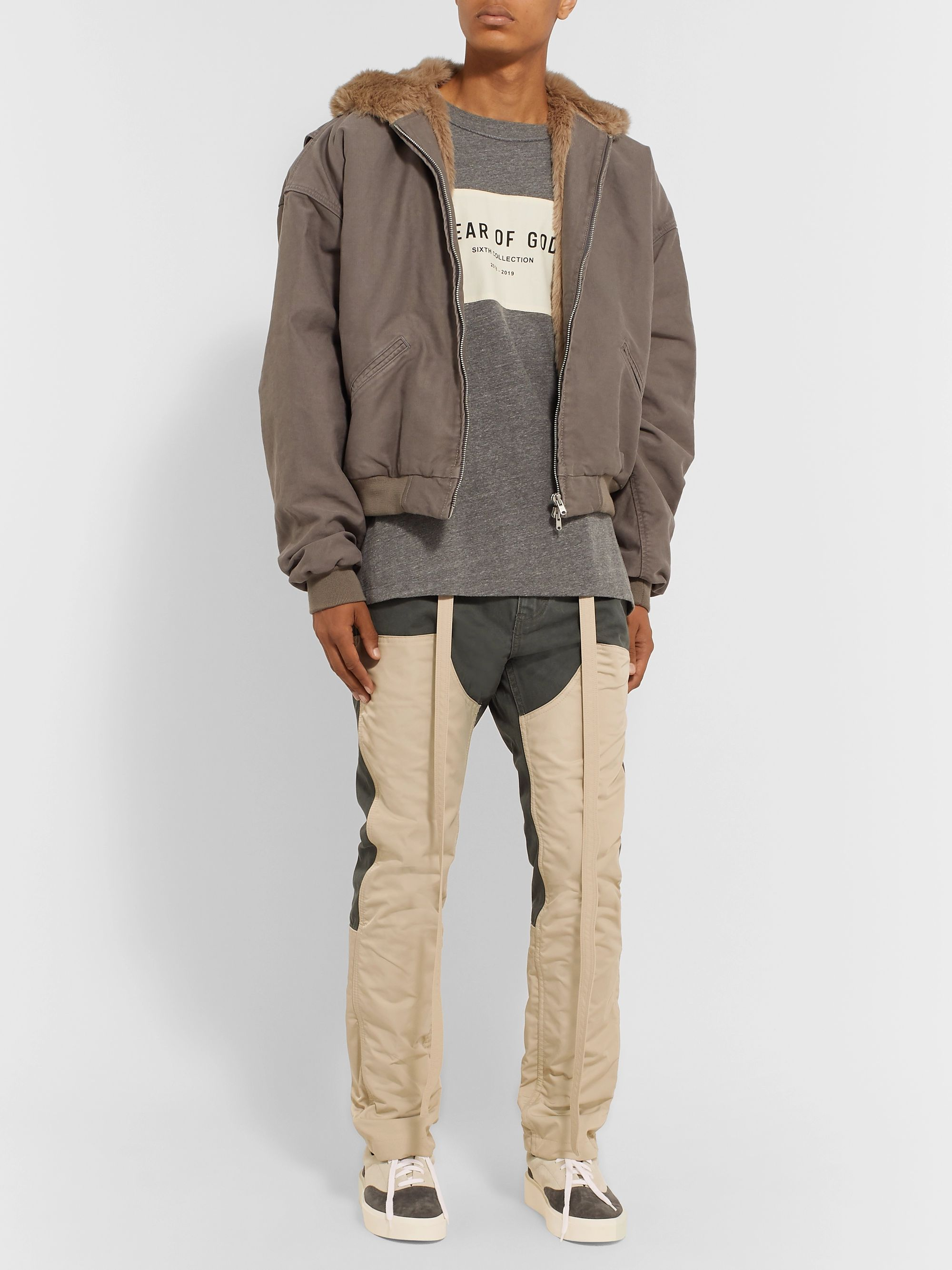 Fear of God Belted Panelled Cotton-Canvas and Nylon Drawstring Trousers