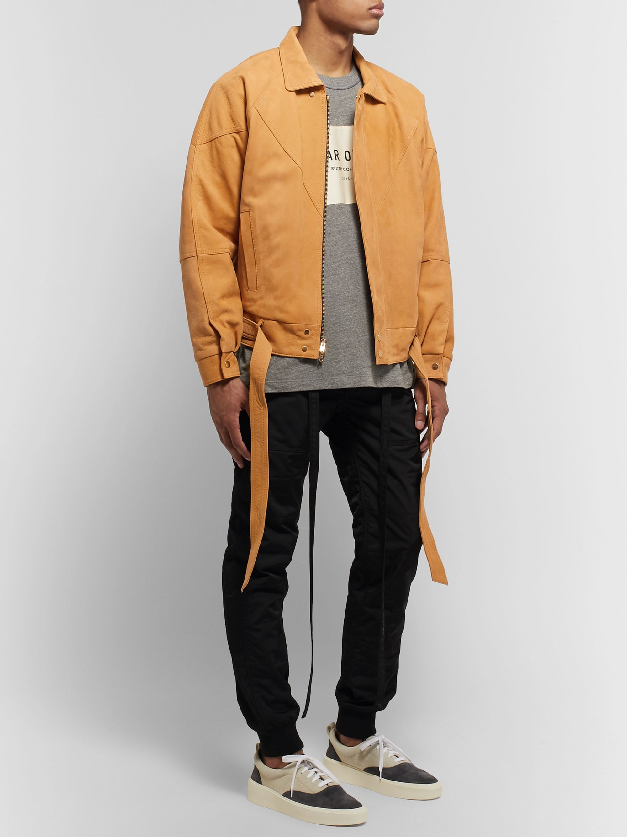 Fear of God Belted Panelled Nubuck Jacket