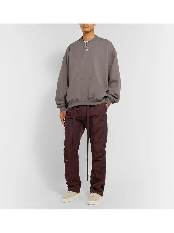 Fear of God Black Slim-Fit Belted Logo-Appliquéd Nylon-Twill Trousers
