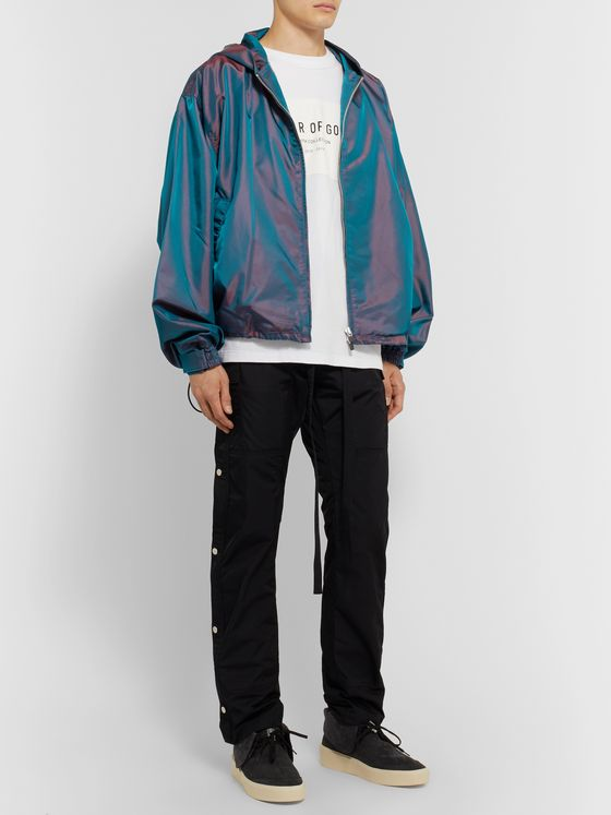 Fear of God Logo-Appliquéd Iridescent Nylon Zip-Up Hoodie