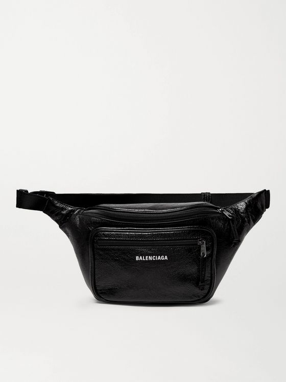 Balenciaga Explorer Logo-Print Crinkled-Leather Belt Bag