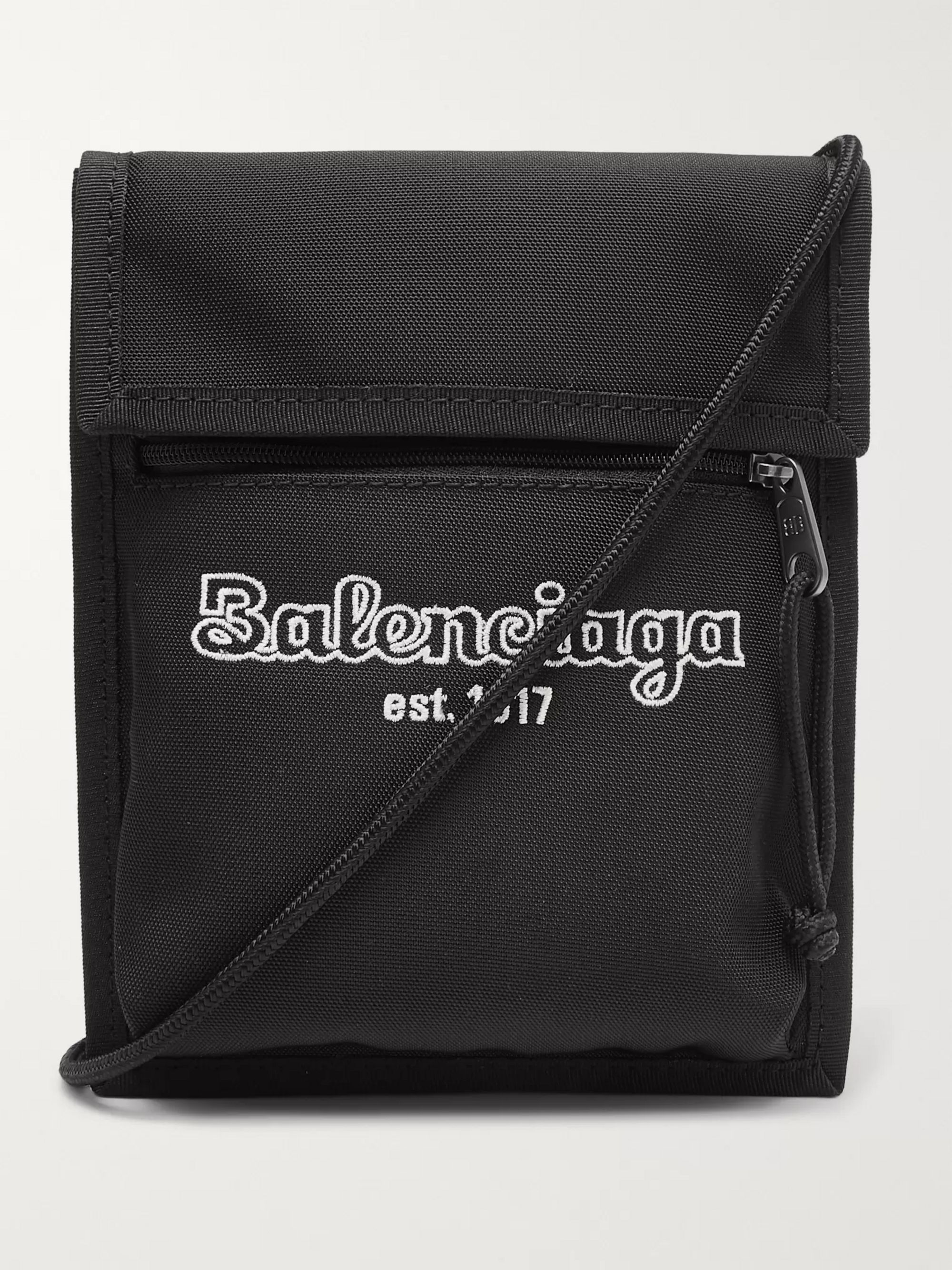 Balenciaga Logo-Embroidered Canvas Messenger Bag