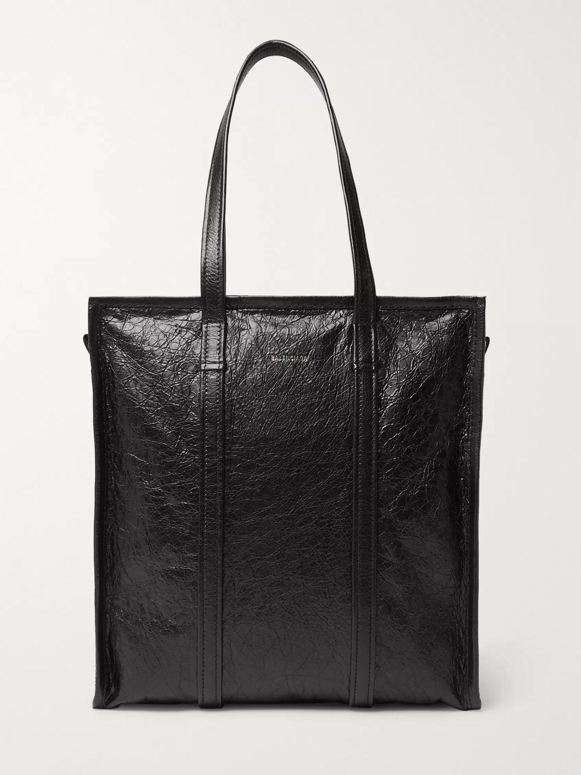 Black Creased-Leather Tote Bag