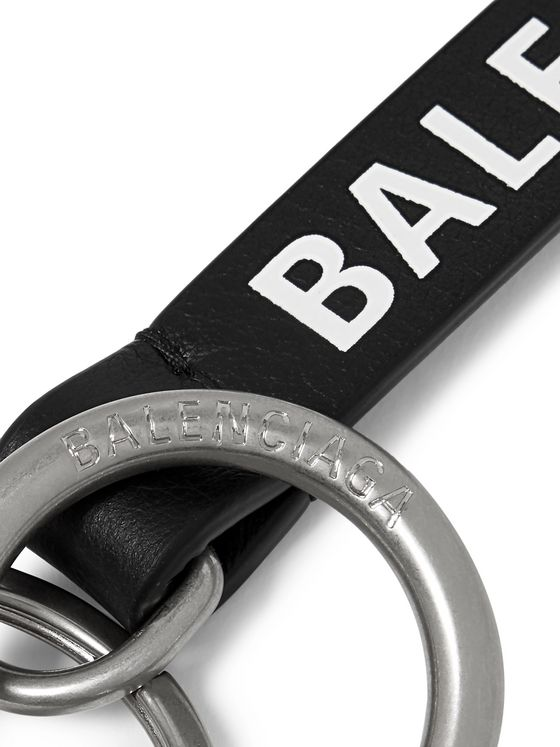Balenciaga Logo-Print Full-Grain Leather Key Fob