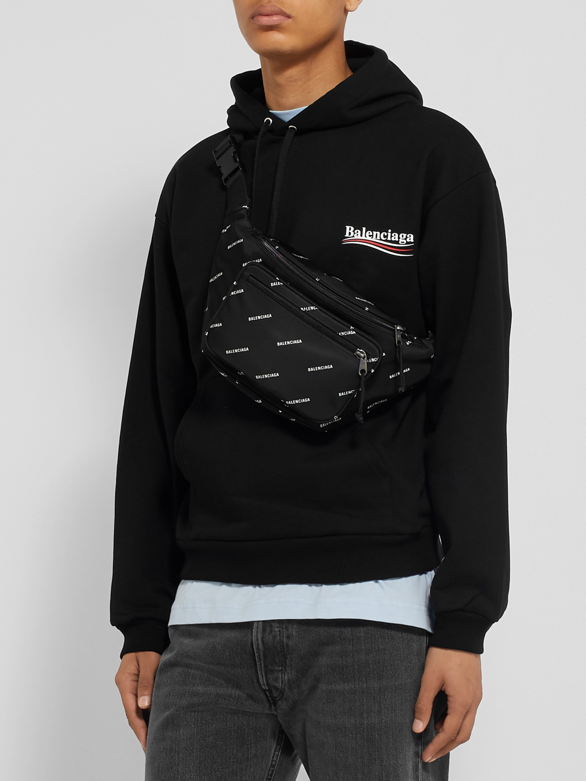 Balenciaga Logo-Print Shell Belt Bag