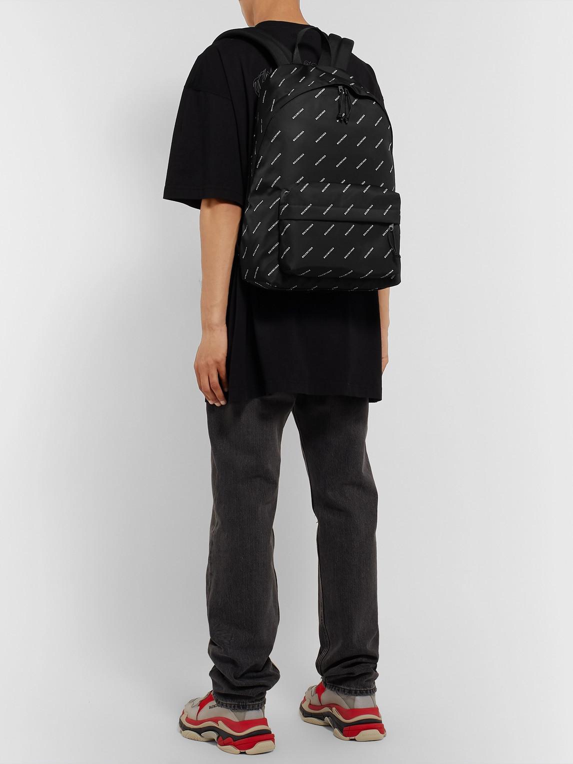 Balenciaga Backpacks EXPLORER LOGO-PRINT NYLON BACKPACK