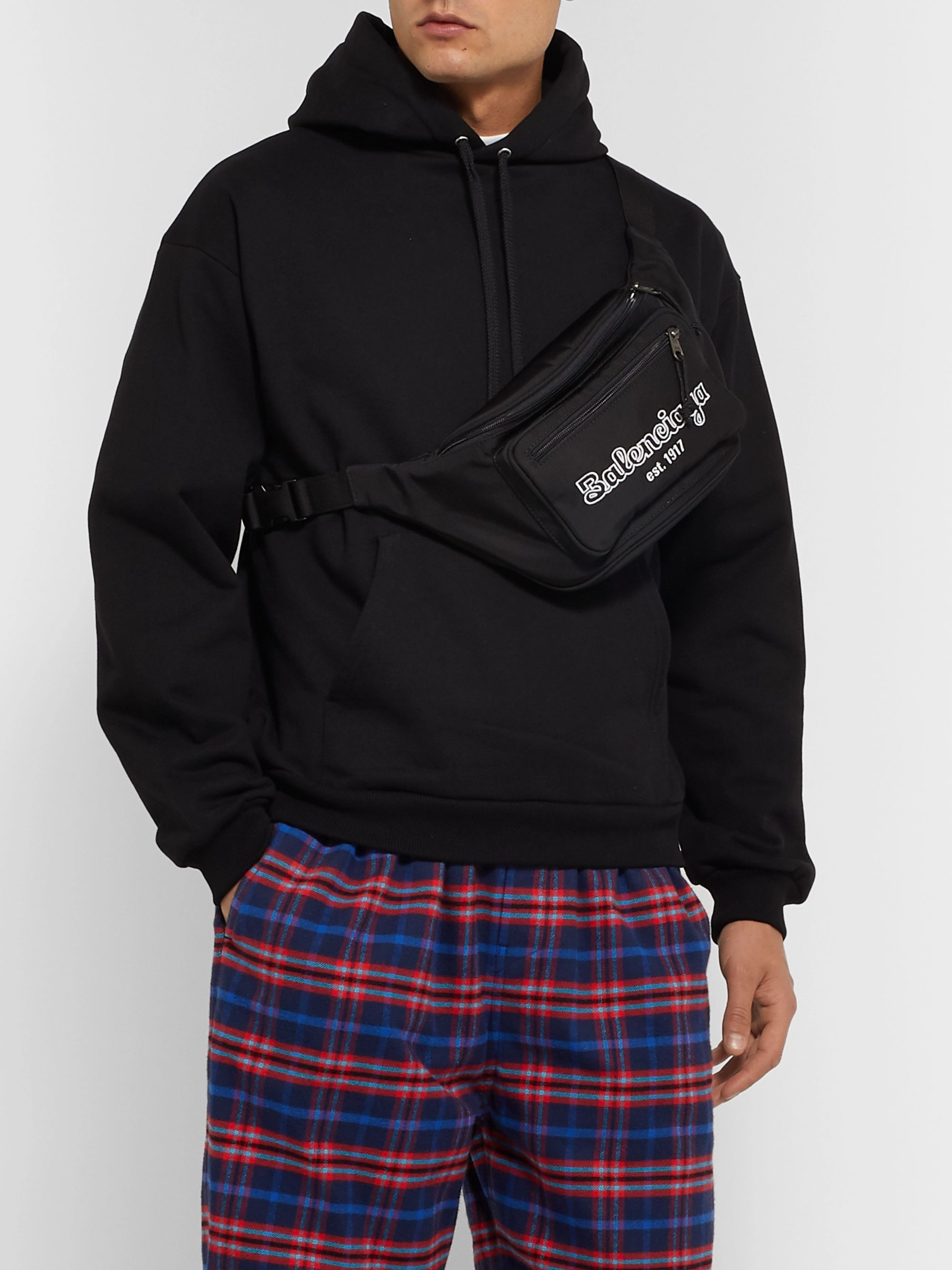 Balenciaga Logo-Embroidered Canvas Belt Bag