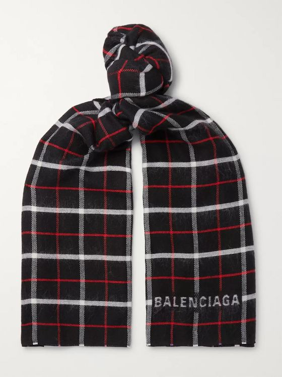 Balenciaga Checked Wool and Silk-Blend Scarf