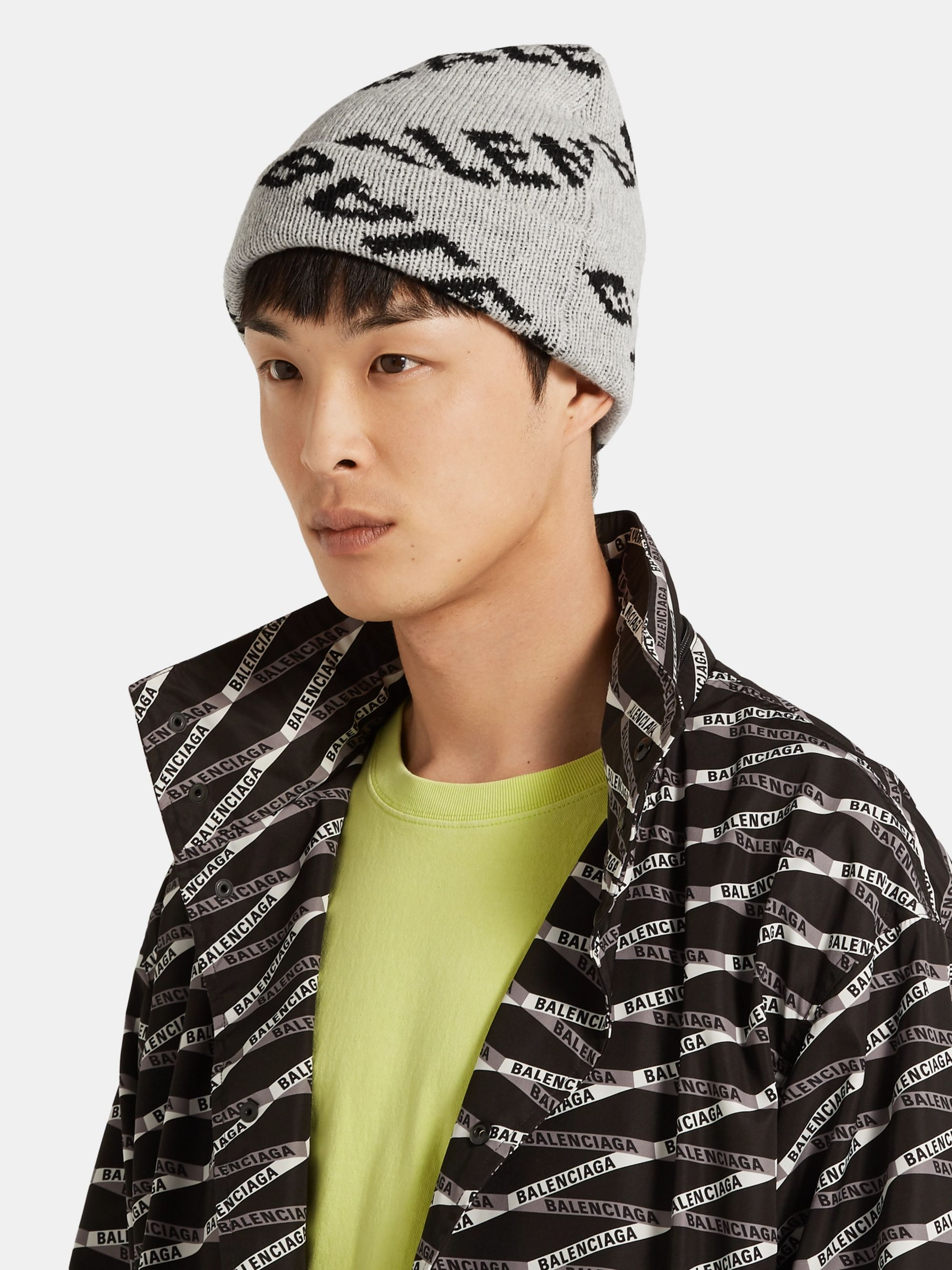 Balenciaga Logo-Jacquard Virgin Wool and Camel Hair-Blend Beanie