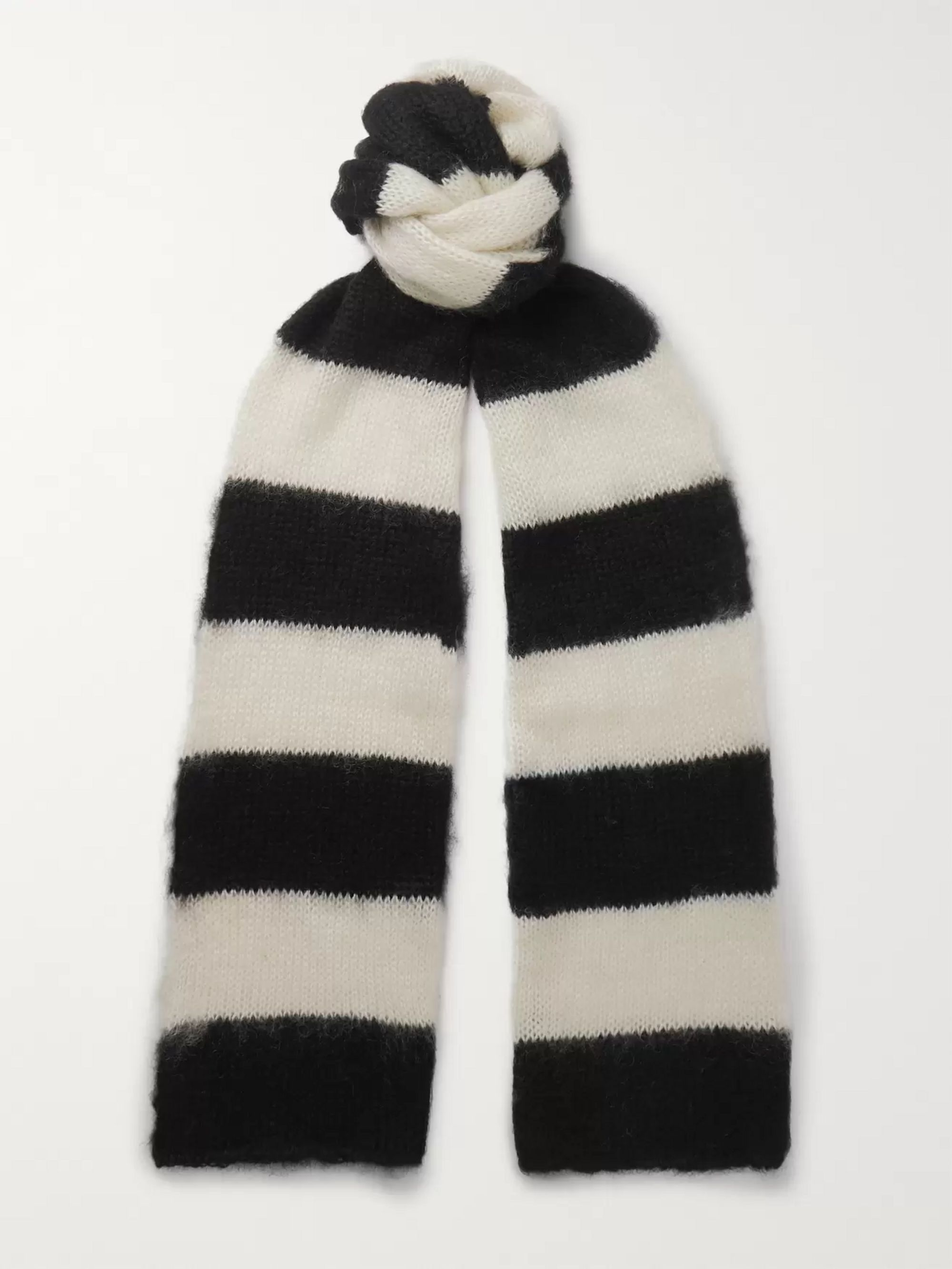 Isabel Benenato Striped Mohair-Blend Scarf