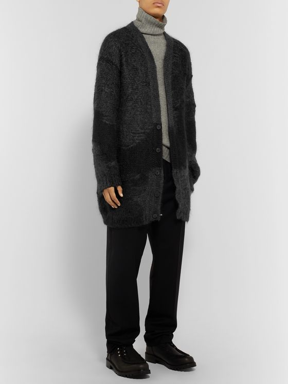 Isabel Benenato Oversized Patchwork Mohair-Blend Cardigan