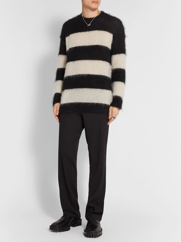 Isabel Benenato Striped Mohair-Blend Sweater