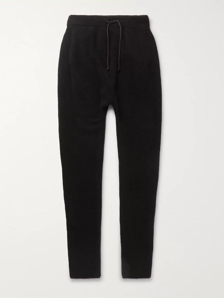 Isabel Benenato Black Slim-Fit Tapered Wool-Blend Drawstring Trousers