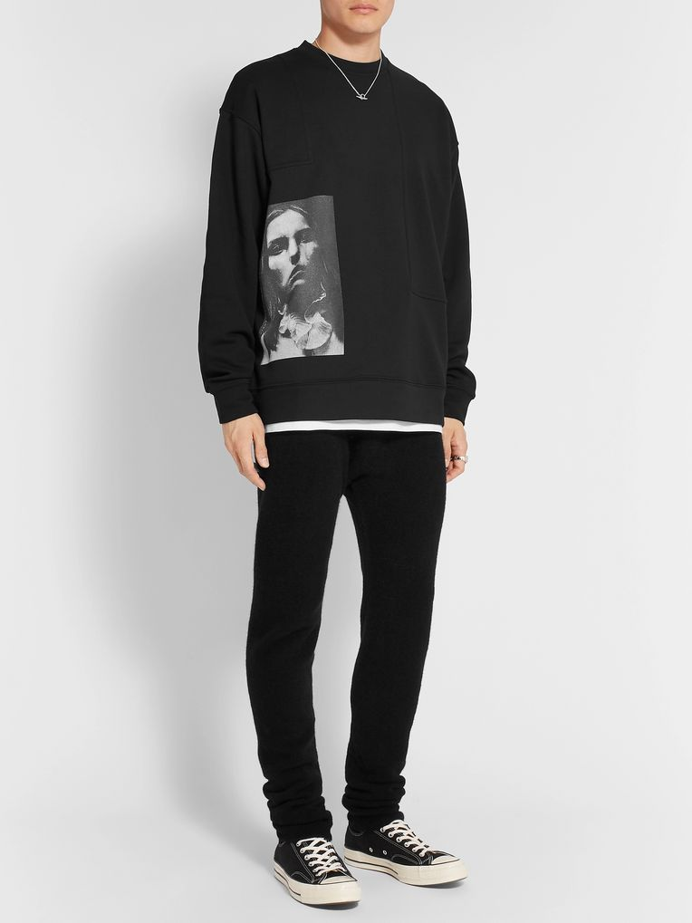 Isabel Benenato Printed Loopback Cotton-Blend Jersey Sweatshirt