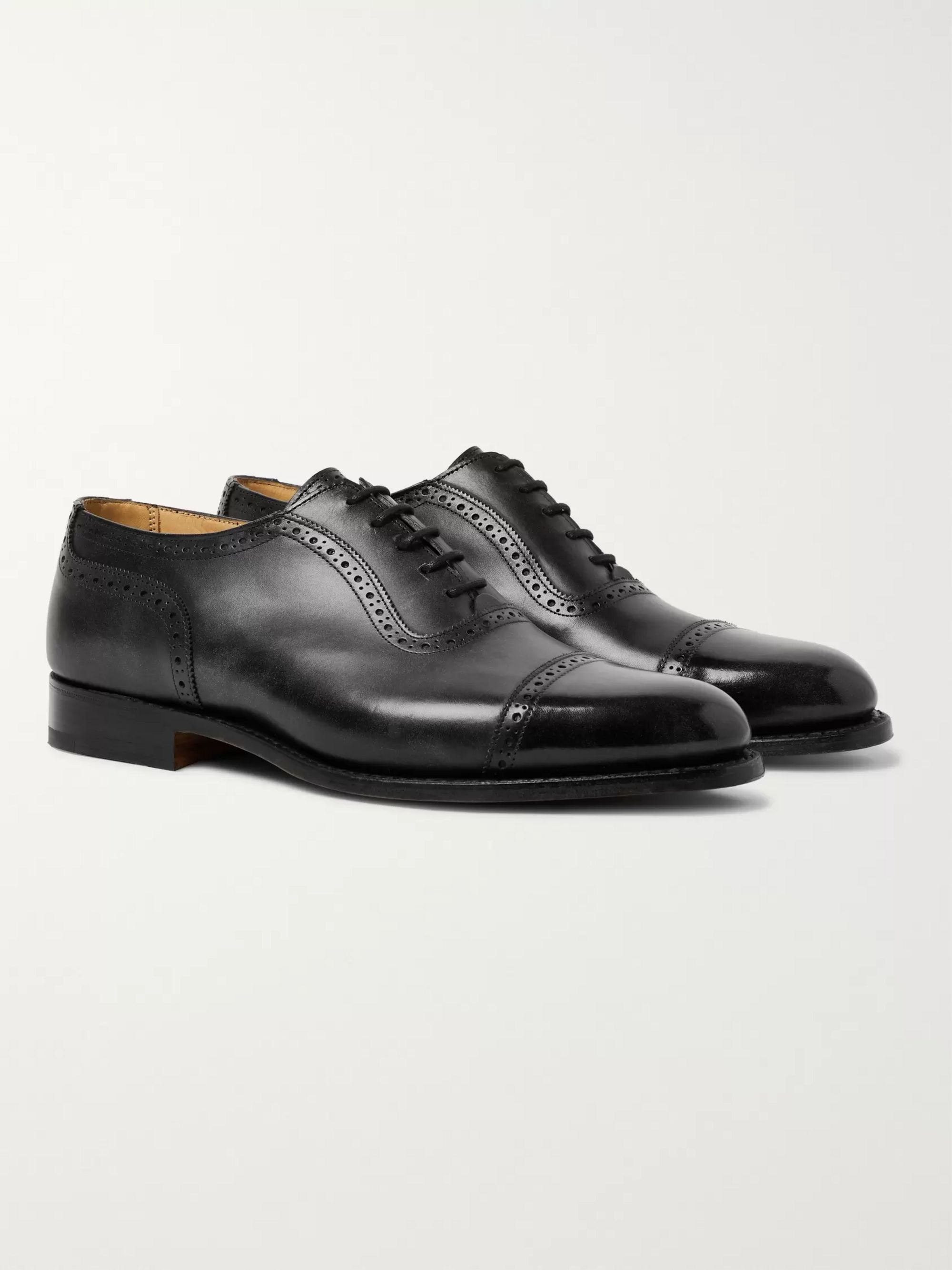 Tricker's Trenton Cap-Toe Leather Oxford Brogues