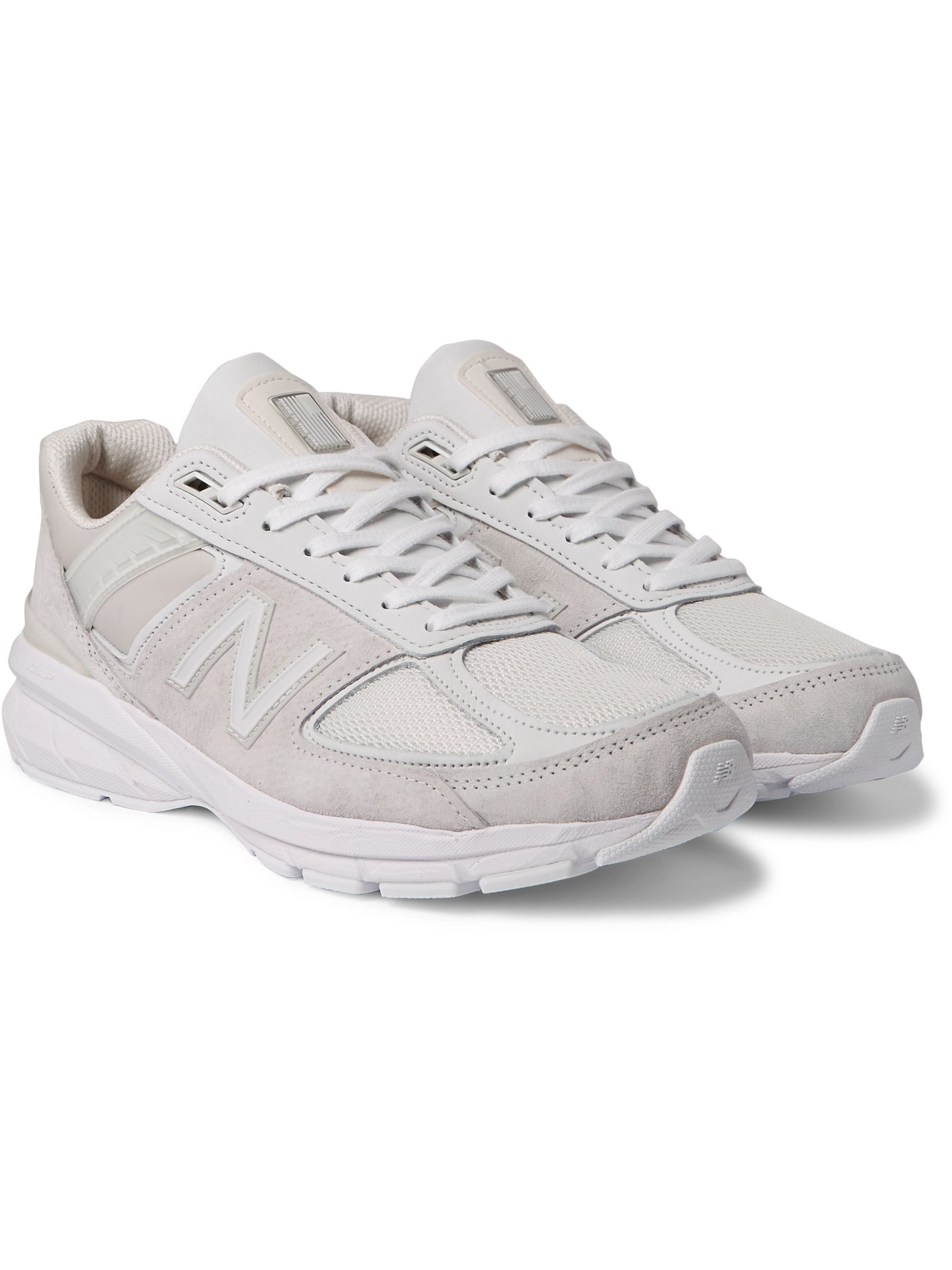 + New Balance 990 V5 Suede And Mesh Sneakers by Junya Watanabe