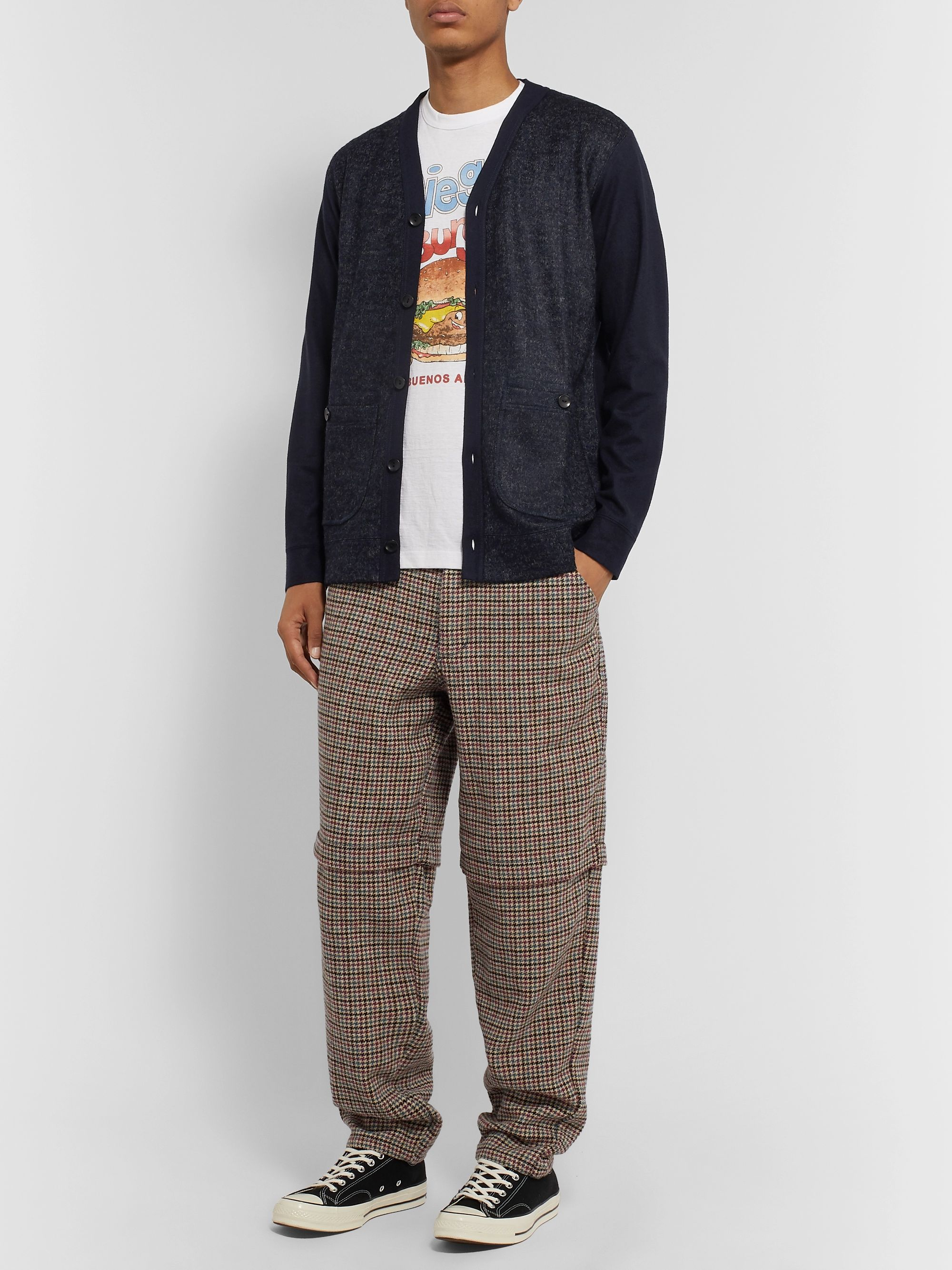 Junya Watanabe Panelled Wool-Blend Bouclé and Jersey Cardigan
