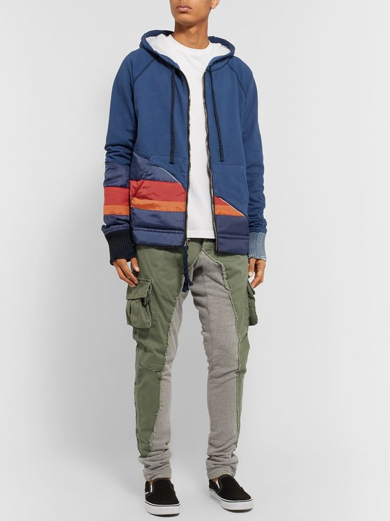 Greg Lauren Panelled Cotton-Blend Hoodie