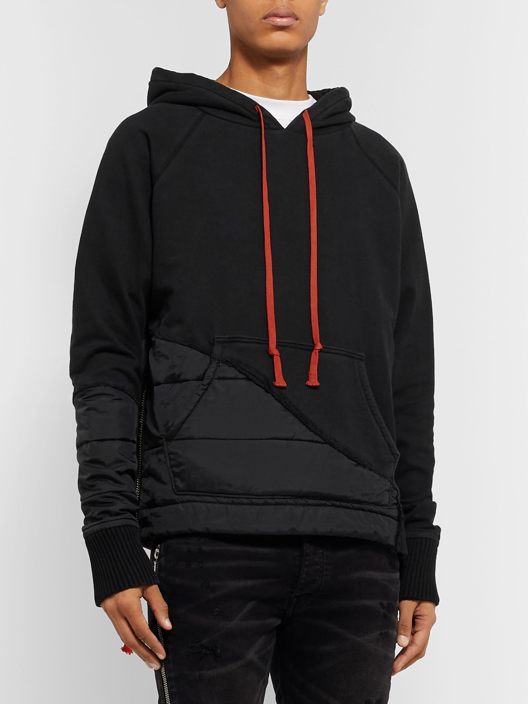 Greg Lauren Embroidered Panelled Jersey and Quilted Shell Hoodie