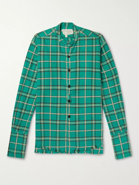 Greg Lauren Grandad-Collar Panelled Checked Cotton-Flannel Shirt