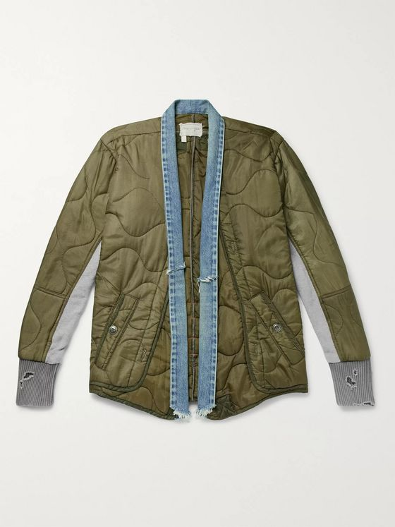 Greg Lauren Distressed Denim and Jersey-Panellled Quilted Ripstop Jacket