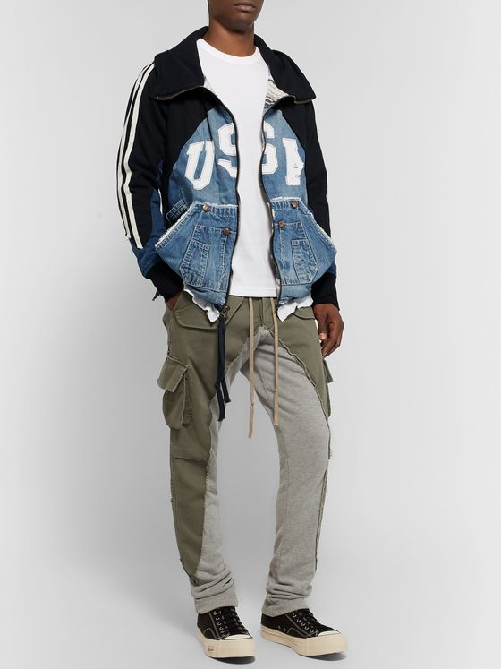 Greg Lauren Panelled Distressed Waffle-Knit Jersey and Denim Zip-Up Hoodie